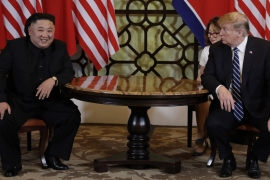 US President Trump met North Korean leader Kim Jong Un in February but their summit was called off early [File: Evan Vucci/AP]