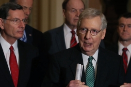 Senate Majority Leader Mitch McConnell speaks about a bipartisan border security compromise negotiated by congressional leaders [Mark Wilson/Getty Images/AFP]