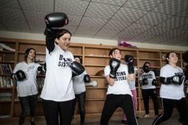 The Boxing Sisters are Yazidis who train in the Rwanga Refugee Camp in Dohuk, northern Iraq. Lotus Flower, a British non-profit organisation, launched the project in October 2018 to improve the physical and mental health of women whose lives have been changed by conflict and sexual violence. [Giacomo Sini/Al Jazeera]