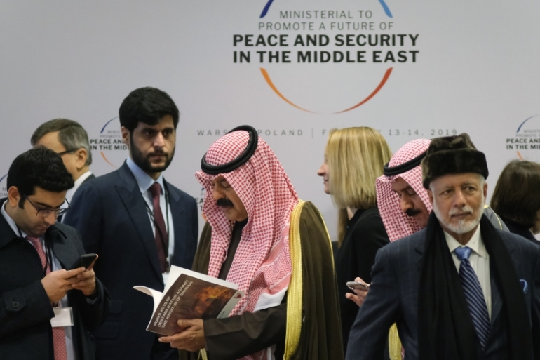 In February, 60 countries participated in the Warsaw conference, which was aimed at discussing peace and security in the Middle East, 'fight against terrorism', and missile development and proliferation [File: Sean Gallup/Getty Images]