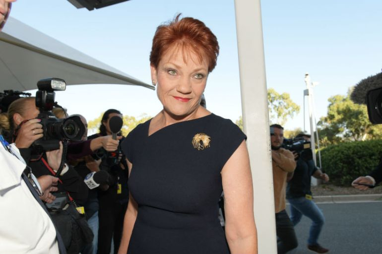Senator Pauline Hanson was condemned for her secretly recorded comments [Tracey Nearmy/Getty Images]