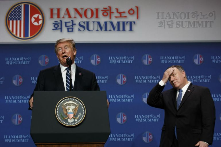 Trump and Kim met in Hanoi in February but the talks ended abruptly and a joint signing ceremony was cancelled. [Evan Vucci/AP Photo]