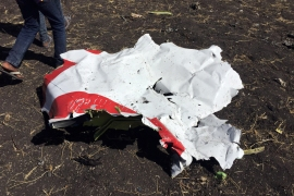 Part of the wreckage at the scene of the Ethiopian Airlines crash. The Nairobi-bound plane crashed six minutes after take-off. [Tiksa Negeri/Reuters]