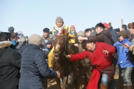 People crowd to touch the sweat of a racehorse, believing that it brings good luck. Cash prizes for horse races can reach several thousand dollars. However, jockeys receive only a fraction of the prize money, with the bulk of the award going to the horse's owner. [Odbayar Urkhensuren/Al Jazeera]