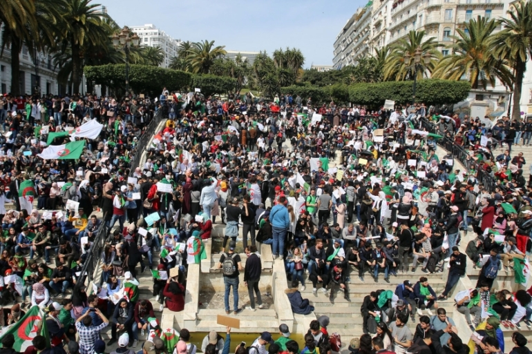 Students protest against an offer by President Abdelaziz Bouteflika to run in elections next month but not to serve a full term if re-elected in Algiers on March 5 [Reuters/Ramzi Boudina]