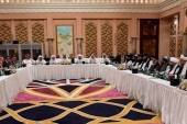 US, Taliban and Qatar officials seen during a meeting in Doha, Qatar [Qatari Foreign Ministry/Handout via Reuters]