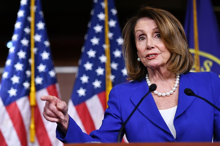 US House Speaker Nancy Pelosi, Democrat of California, holds her weekly press conference [File: Mandel Ngan/AFP]