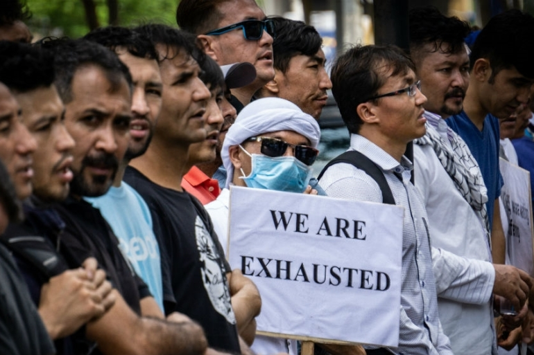 Refugees regularly protest in front of the IOM and UNHCR offices in Makassar [Ian Morse/Al Jazeera]