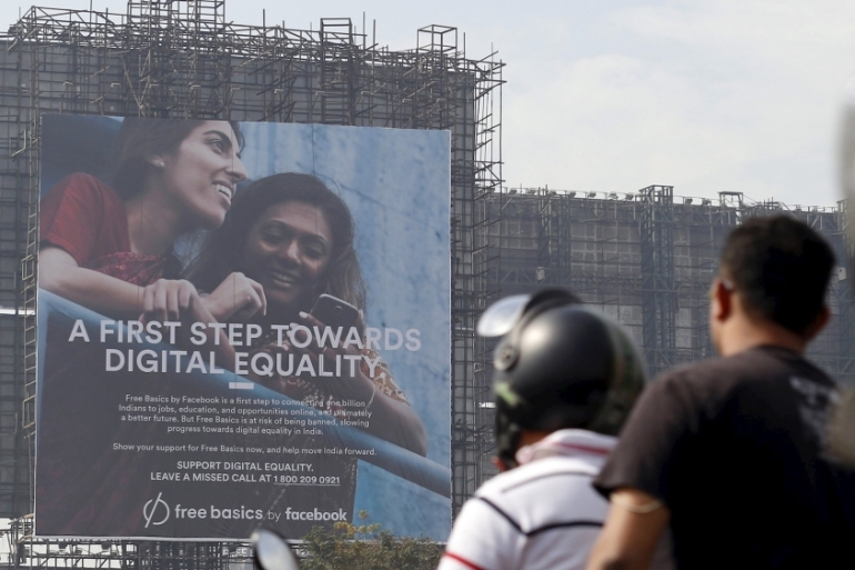File: A billboard advertising Facebook's Free Basics initiative, which was banned in India for violating net neutrality laws, is seen in a photo dated Dec 30, 2015 [File: Danish Siddiqui/Reuters]