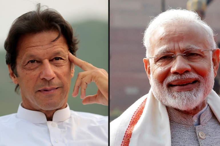 The message from Modi, right, to Khan follows a series of moves and statements signalling rapprochement between the nuclear-armed neighbours [File: Reuters]