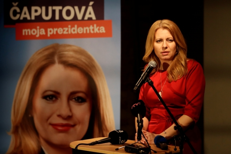 Caputova announced her candidacy a year ago and has no public office experience [David W Cerny/Reuters]