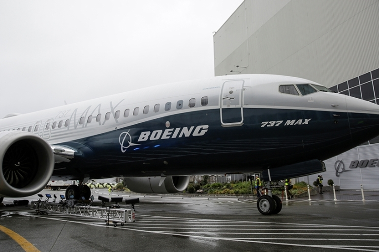 The first Boeing 737 MAX 7 is unveiled in the US in February 2018 [File: Jason Redmond/Reuters]