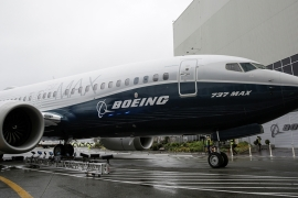 The first Boeing 737 MAX 7 is unveiled in Renton, Washington, in February 2018 [Jason Redmond/Reuters]