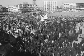 Supporters of Khomeini rallying in Tehran on February 6, 1979 [File: Campion/AP]