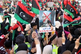 Libyan protesters attend a demonstration to demand an end to the Khalifa Haftar's offensive against Tripoli [Ahmed Jadallah/Reuters]