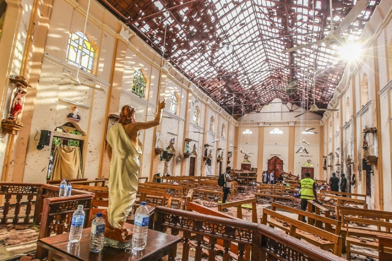 A view of St Sebastian's Church damaged in the Easter Sunday bombings, in Negombo, north of Colombo [File: Chamila Karunarathne/AP]