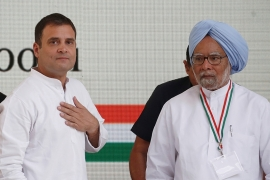 Rahul Gandhi said Congress would expand an existing jobs programme to guarantee 150 days of work a year to rural households [Adnan Abidi/Reuters]