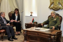 Guterres (left) meets Haftar in Libya's eastern city of Benghazi [Reuters]