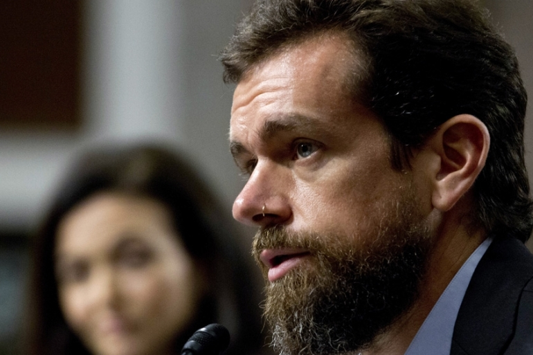 In this file photo from 2018, Twitter CEO Jack Dorsey testifies before the Senate Intelligence Committee hearing [File: Jose Luis Magana/AP Photo]