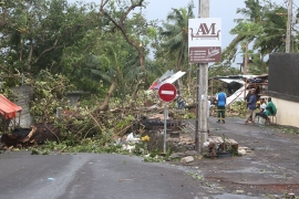 There were widespread power outages as Cyclone Kenneth downed trees and damaged property in the island nation of Comoros  [Ibrahim Youssouf/AFP]