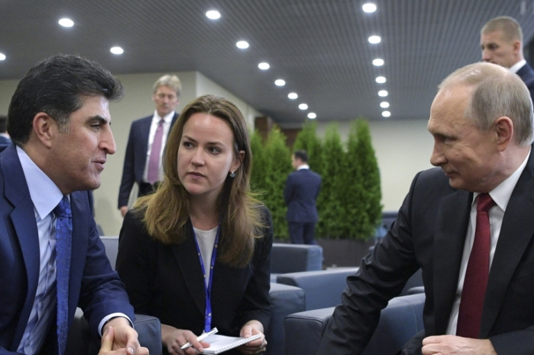 Russia's President Vladimir Putin meets with Iraq's Kurdistan Prime Minister Nechirvan Barzani on the sidelines of the St Petersburg International Economic Forum on June 2, 2017 [File: Reuters]
