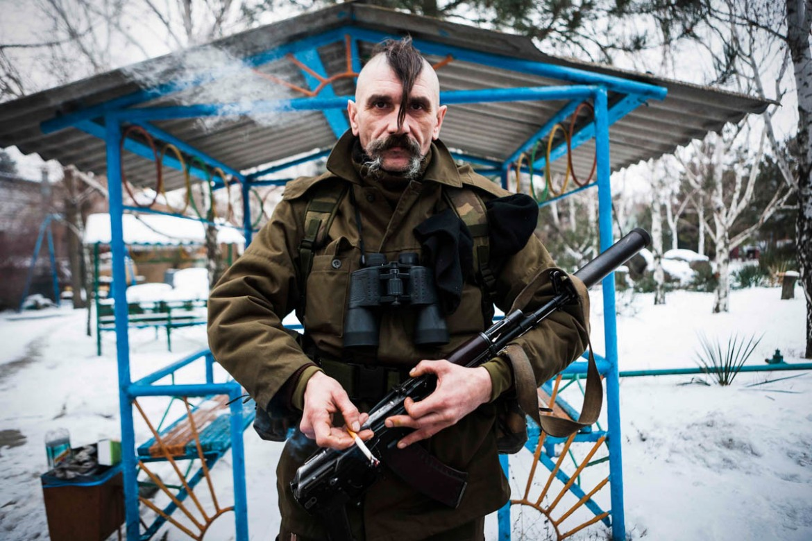 Vladj Vladislav, 48, nicknamed Eliminator, a Cossack who joined the Ukrainian militia during the war. [Erik Messori/CAPTA/Al Jazeera]