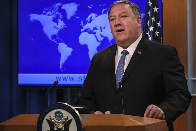 US Secretary of State Mike Pompeo speaks to the media [File: Drew Angerer/Getty Images/AFP]