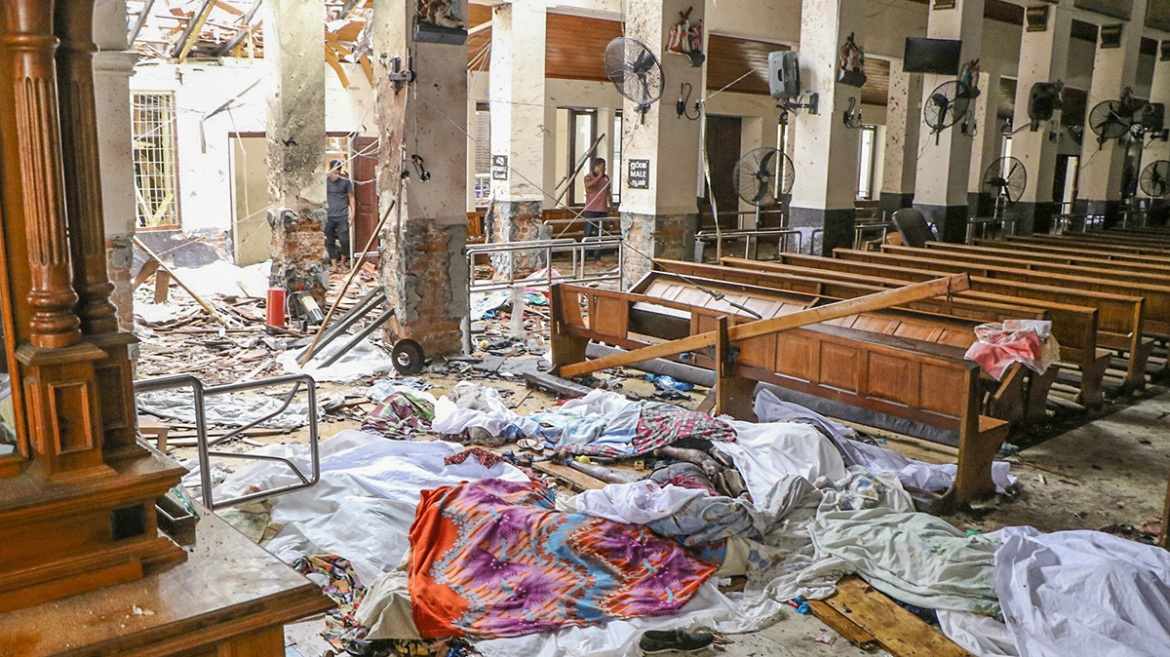An inside view of St Anthony's Shrine after the explosion. [Chamila Karunarathne/Anadolu Agency/Getty Images]