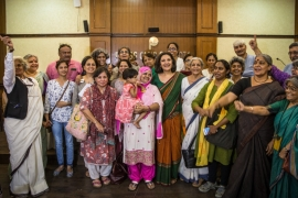Leading activists who supported Bano in her legal fight are pictured with her after a court verdict in 2017 [Courtesy: Yashas Chandra]