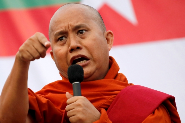 Wirathu speaks at a rally in Yangon against constitution change earlier this month [Ann Wang/Reuters]