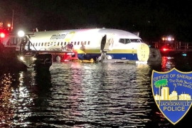 The Boeing 737 ended up in St Johns River in Jacksonville, Florida, on May 3 [Reuters]