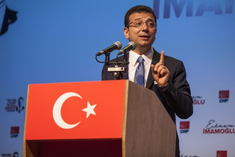 Imamoglu, condemned the draining of economic and environmental resources by the ruling AK Party in his campaign launch speech [Tessa Fox/Al Jazeera]