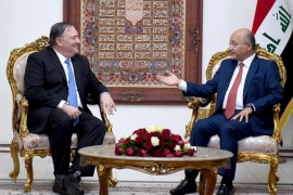 Iraq's President Salih (R) meets US Secretary of State Pompeo in Baghdad [Reuters]