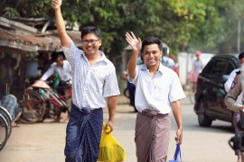 Reuters reporters Wa Lone and Kyaw Soe Oo  outside Insein prison after receiving a presidential pardon in Yangon, Myanmar. [Ann Wang/Reuters]
