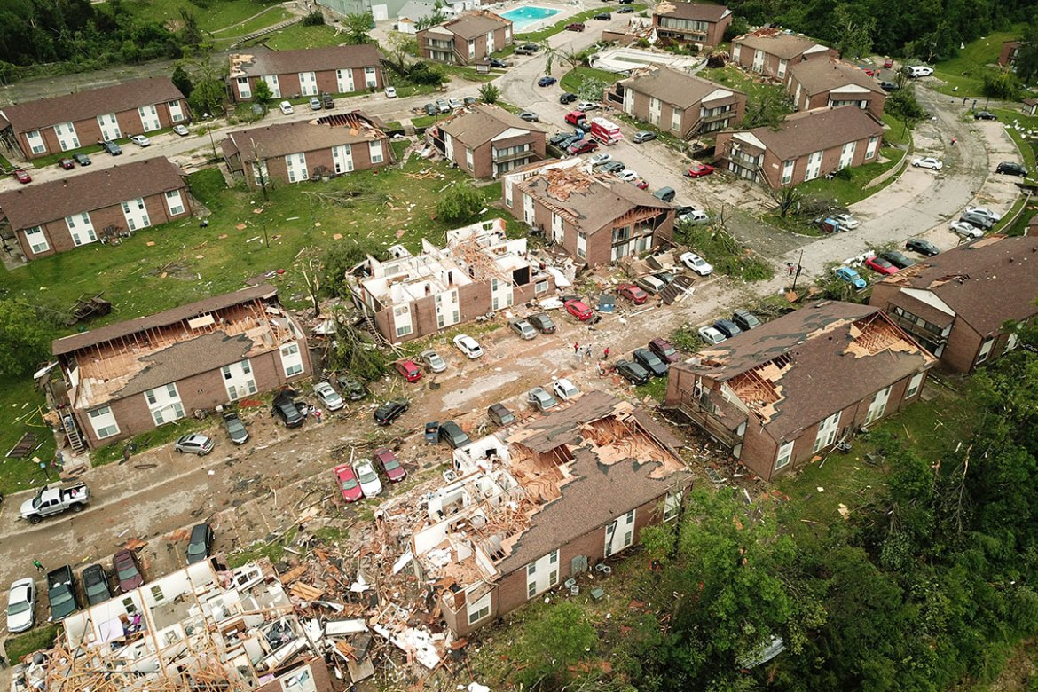 This aerial view shows some of the destruction from the tornado that touched down just before midnight local time on Wednesday, May 23, in Jefferson City, Missouri. [Drone Base TPX/Reuters]