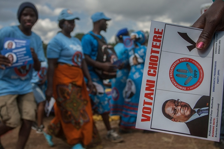 Mutharika, who has been in power since 2014, is seeking a second and final term in office [Amos Gumulira/AFP]