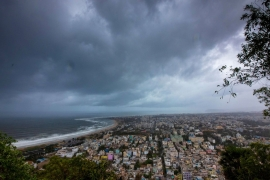 Clouds loom ahead of cyclone Fani in Visakhapatnam, India [Reuters]