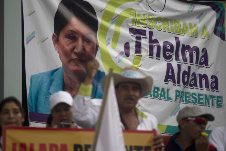 The decision was met with disappointment by supporters of Aldana's Semilla Party [Moises Castillo/AP Photo]