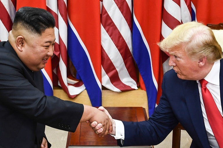 North Korea says its sees little point in maintaining the personal relationship between leader Kim Jong Un and United States President Donald Trump, seen meeting in the Korean Demilitarized Zone in June 2019, if the US continues its 'hostile' policies [File: Brendan Smialowski/AFP]