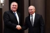 Russian President Vladimir Putin meets with US Secretary of State Mike Pompeo at the Bocharov Ruchei residence in Sochi on May 14, 2019. [Reuters/Alexander Nemenov]