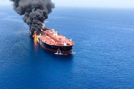 A tanker near the Gulf of Hormuz damaged in a suspected attack earlier this month [ISNA/ AP]