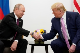 Russia's President Vladimir Putin and US President Donald Trump shake hands during a bilateral meeting at the G20 leaders summit in Osaka, Japan, June 28, 2019 [Kevin Lamarque/Reuters]