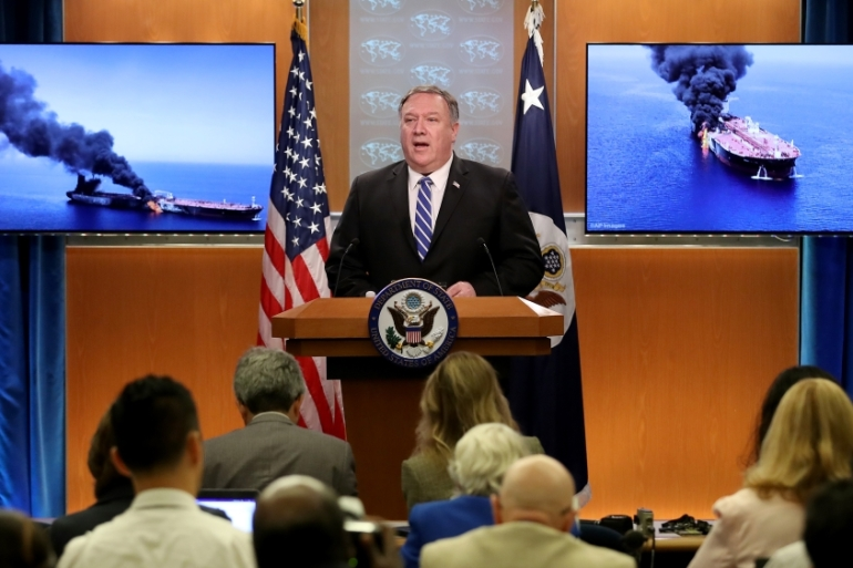 Mike Pompeo said US will defend its forces and interests in the Gulf region [Win McNamee/Getty Images/AFP]