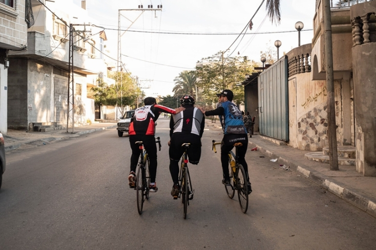 Alaa al-Dali uses Gaza's longest road (35km) for his daily training session [Nicola Zolin/Al Jazeera]