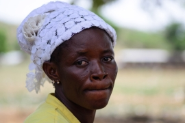 Salimata Kali, an asylum seeker from Burkina Faso in Ghana, is still searching for her husband after violence flared up in their hometown [Ernest Kodjo Ayikpah/Al Jazeera]
