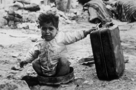 A Palestinian child refugee at a camp in Palestine in November 1948 [Getty Images]