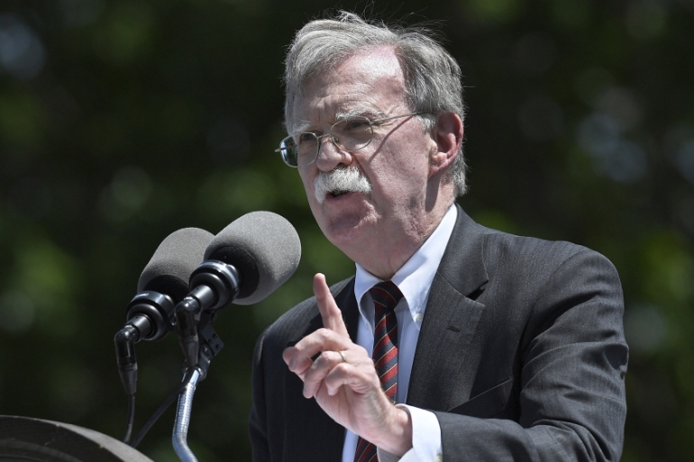 Bolton speaks at the commencement for the United States Coast Guard Academy [File: Jessica Hill/Reuters]
