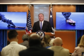 US Secretary of State Mike Pompeo said Washington held Iran responsible for Thursday's incidents which left one tanker ablaze [Alex Brandon/AP]