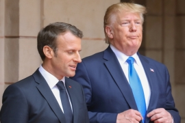 French President Emmanuel Macron speaks with US President Donald Trump stressed they don't want Iran to obtain nuclear weapons  [Ludovic Marin/Reuters]