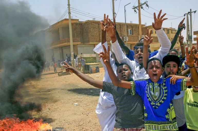 Sudanese protesters in Khartoum demand that the country's military council hand over power to civilians [Reuters]